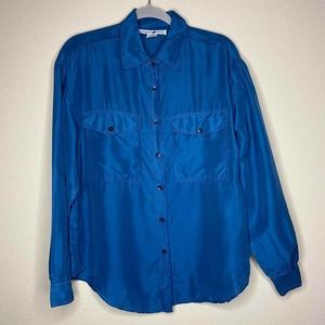 Vintage Jonathan Martin Blue Silk Button Up Top